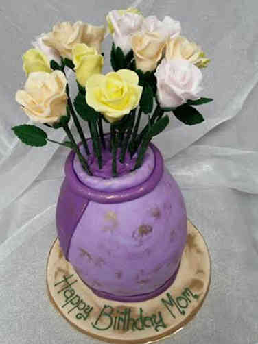 Floral 37 Vase of Flowers Birthday Cake