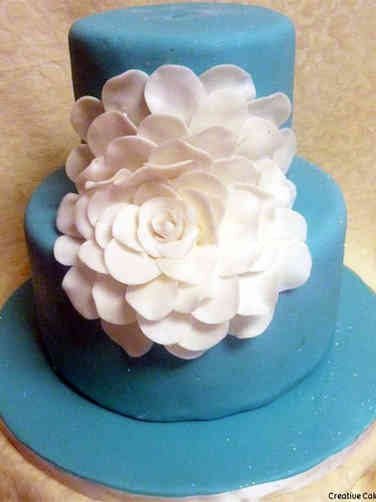 Neutral 45 Large Flower Baby Shower Cake
