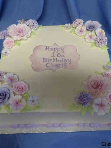 Floral 25 Square Pink and Lavender Birthday Cake