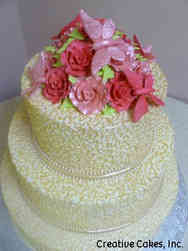 Elegant 24 Butterflies and Lace Wedding Cake