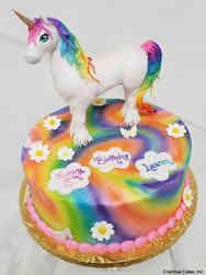 Animals 09 Charlie the Unicorn Tie Dye Birthday Cake