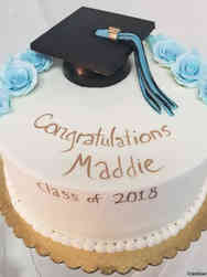 High School 04 Blue and Gold Chocolate Grad Cap High School Graduation Cake
