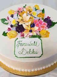 Floral 10 Happy Garden Retirement Celebration Cake