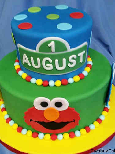 Neutral 05 Sesame Street First Birthday Cake