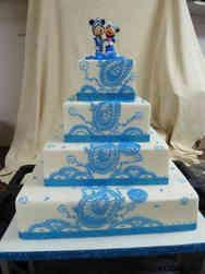Unique 12 Blue Henna Wedding Cake