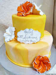 Anniversary 01 Yellow Marbled 25th Anniversary Cake