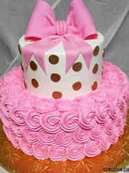 Floral 02 Pink Bow and Gold Polka Dots Bridal Shower Cake