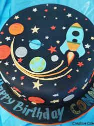 Unique 09 Retro Outer Space Birthday Cake
