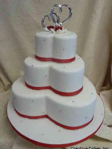 Unique 11 Hearts and Pearls Wedding Cake