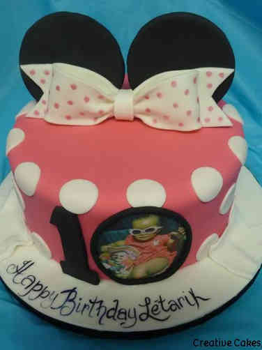 Girls 25 Minnie Ears and Photo First Birthday Cake