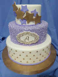 Neutral 38 Stars and Sequins Baby Shower Cake