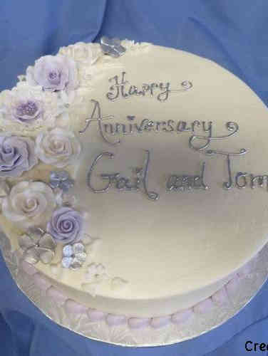 Floral 27 Lavender and Silver Anniversary Celebration Cake