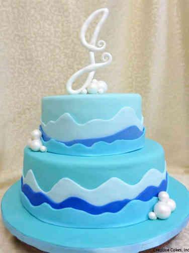 Mitzvah 15 Blue Waves Bat Mitzvah Cake