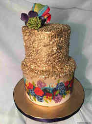 Floral 40 Hand-Painted Flowers and Sequins Birthday Cake