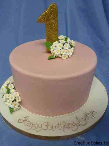 Girls 24 Elegant Pink First Birthday Cake