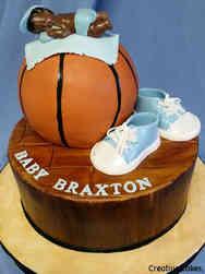 Boys 05 Basketball Baby Shower Cake