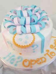 Reveal 09 Round Present Gender Reveal Cake