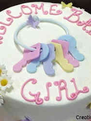 Girls 01 Cute Keys Baby Shower Cake