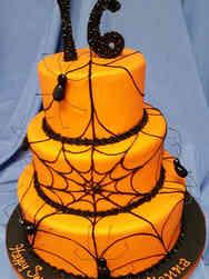 Autumn 01 Orange Spiderwebs Halloween Cake