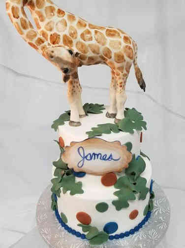 Neutral 18 Mama Giraffe Baby Shower Cake