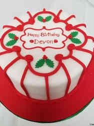 Winter 05 Holly and Stripes Holiday Celebration Cake