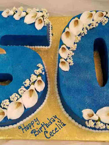 Numbers 17 Saphire Blue Cut Out 50th Birthday Cake