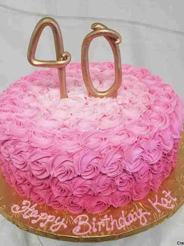 Numbers 14 Pink Ombre Rosettes 40th Birthday Cake