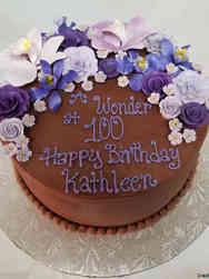Floral 11 Chocolate and Purple Flowers Birthday Cake