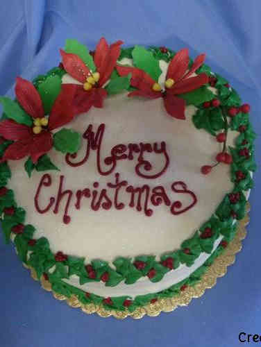 Winter 18 Poinsettie and Holly Wreath Christmas Celebration Cake