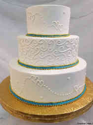 Simple 09 Piped Hearts Wedding Cake