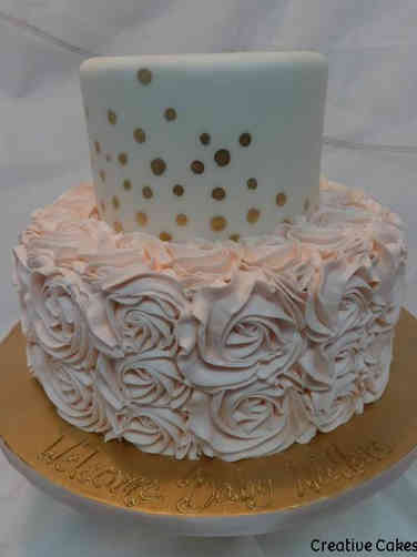 Girls 25 Gold Dots and Rosettes Baby Shower Cake