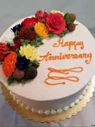 Floral 40 Autumn Flowers Anniversary Cake