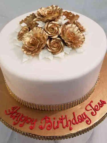 Floral 44 Elegant Gold Roses Birthday Cake