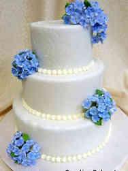 Floral 22 Hydrangeas and Swirls Wedding Cake