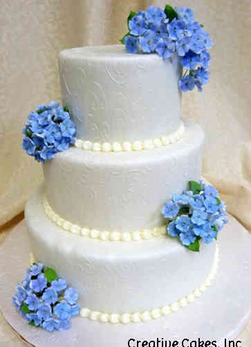 Floral 22 Hydrangeas and Swirls Wedding Cake