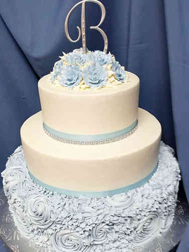Floral 03 Blue Roses and Rosettes Wedding Cake