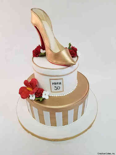 Fashion 83 Gold Shoe 50th Birthday Cake