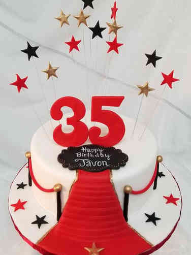 Numbers 07 Red Carpet 35th Birthday Cake