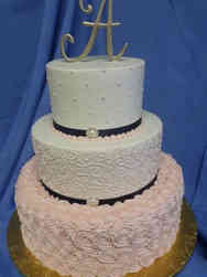 Elegant 18 Pink and White Textured Wedding Cake