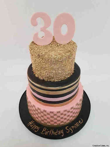 Numbers 36 Pink and Gold 30th Birthday Cake