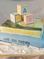 Neutral 54 Books and Blocks Baby Shower Cake