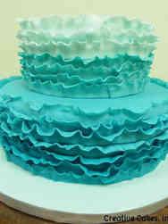 Colorful 07 Aqua Ombre Ruffles Wedding Cake