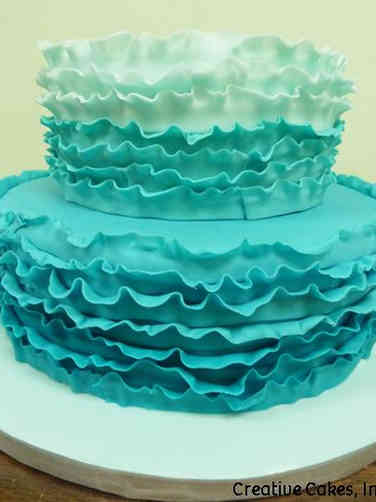 Colorful 07 Aqua Ombre Ruffles Wedding Cake