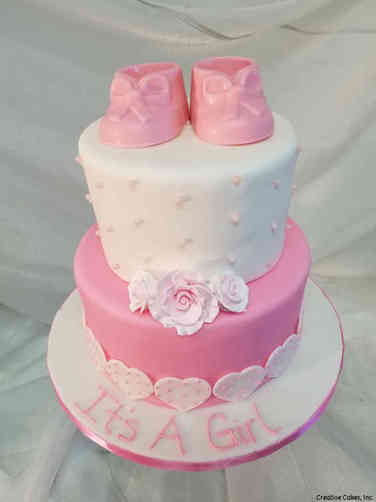 Girls 33 Hearts, Flowers, and Shoes Baby Shower Cake