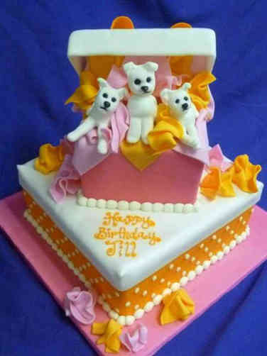 Feminine 32 Box of Puppies Birthday Cake