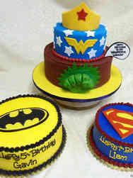 Pop 39 Super Hero Coordinating Birthday Cakes