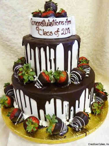 High School 14 Chocolate Covered Strawberries High School Graduation Cake