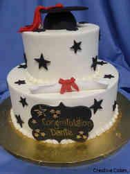College 26 Black Stars College Graduation Cake
