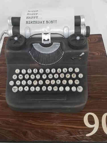 Hobbies 14 Typewriter Birthday Cake