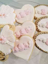 Cookies 12 Dimensional Pink and Gold Baby Shower Cookies